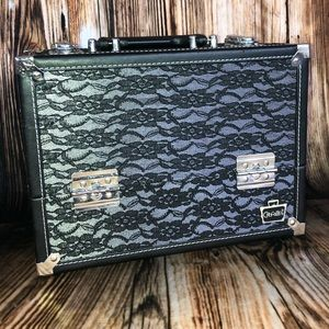Caboodles Stylist Black Lace Makeup Train Case